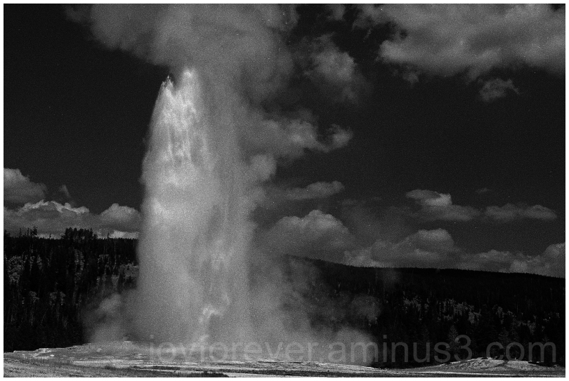 OldFaithful geyser Yellowstone B&W water film