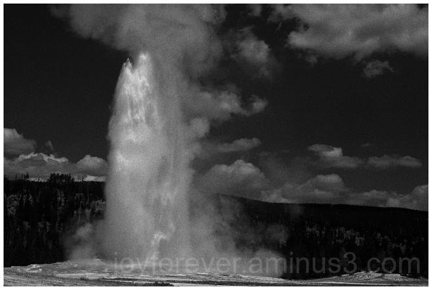 OldFaithful geyser Yellowstone B&W water film