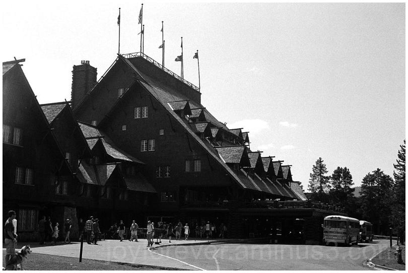 OldFaithful Lodge Yellowstone Hotel B&W Film