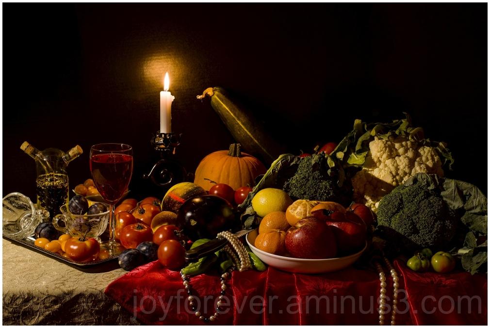 StillLife fruits vegetables candle wine pearls art