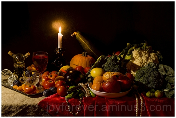 StillLife fruits vegetables candle wine pearls art
