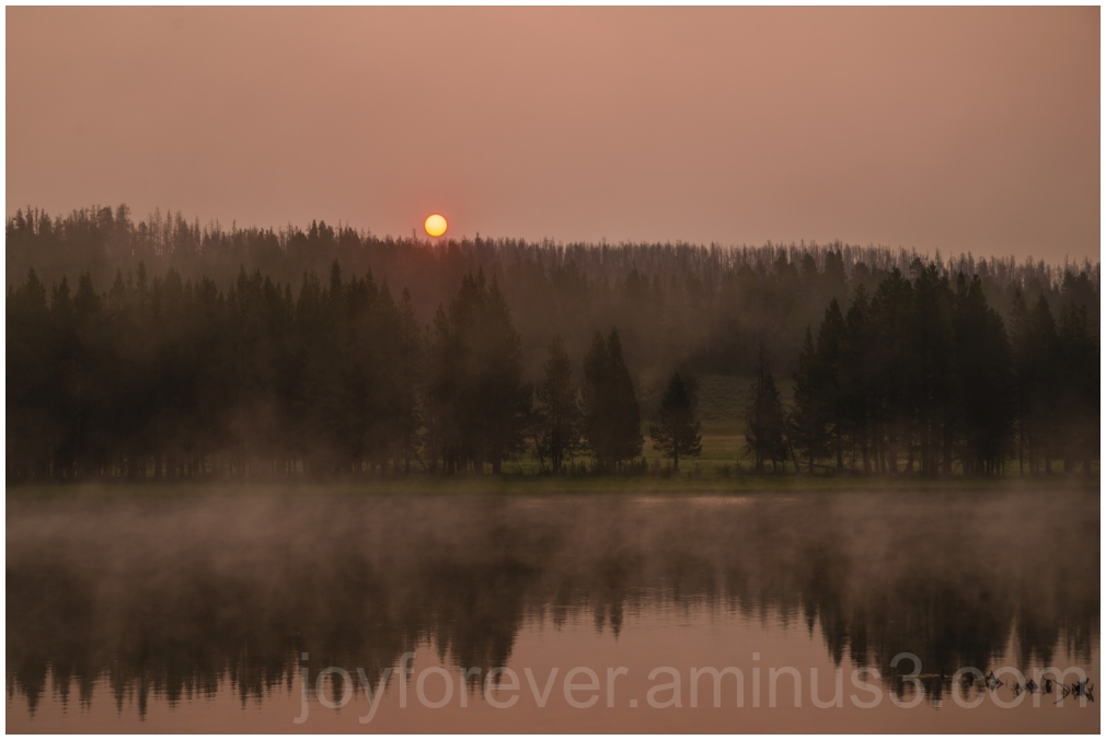 sunrise Yellowstone Wyoming water river fog