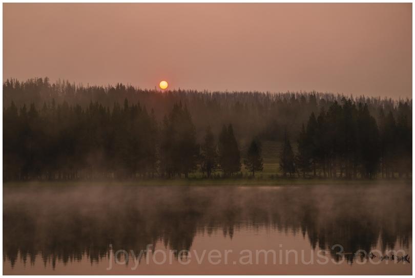 sunrise Yellowstone Wyoming water river fog