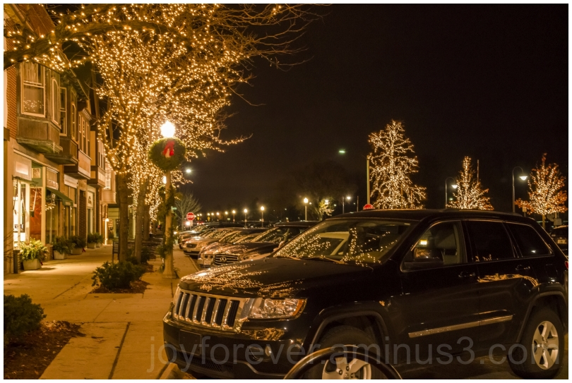 Holiday Christmas lights car LakeForest reflection