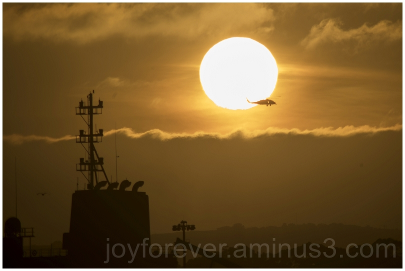 sun sunset SanDiego Helicopter ship clouds