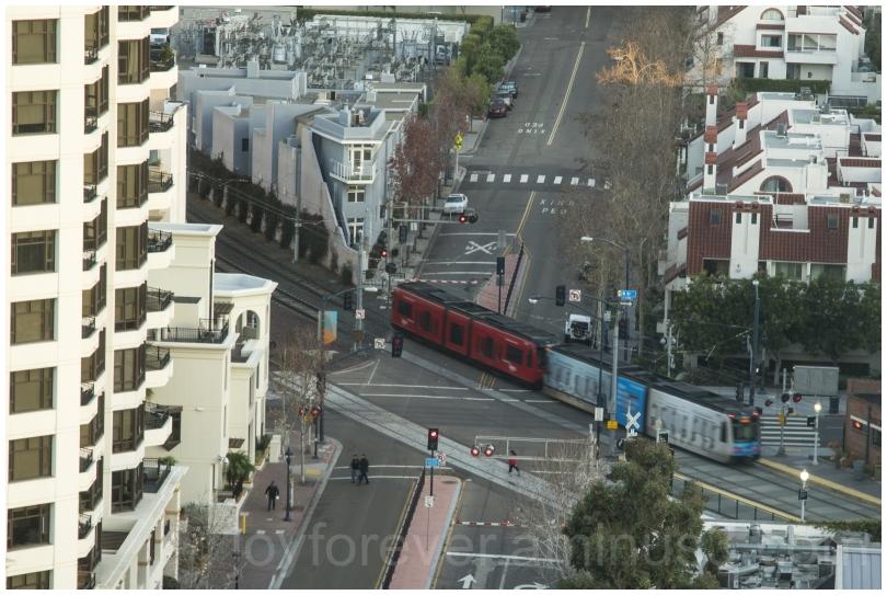 train trolley crossing road SanDiego California