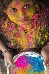 Holi Indian Hindu Festival Colors woman