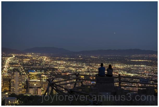 saltLakeCity Utah EnsignPeak cityscape night light