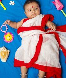 baby child girl sari Indian festival Durga Puja