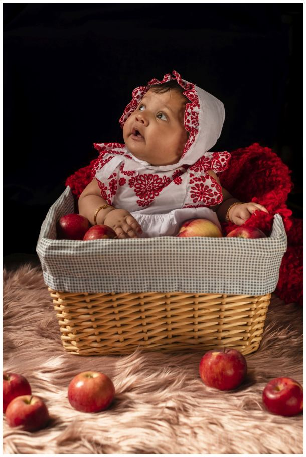 apple fruit basket baby girl infant autumn fall