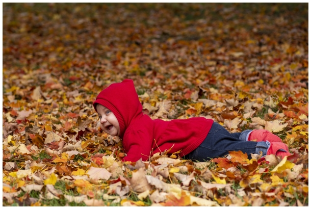 daughter girl child baby infant fall autumn leaves