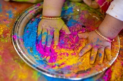 Holi Indian Hindu Festival Colours baby Hands