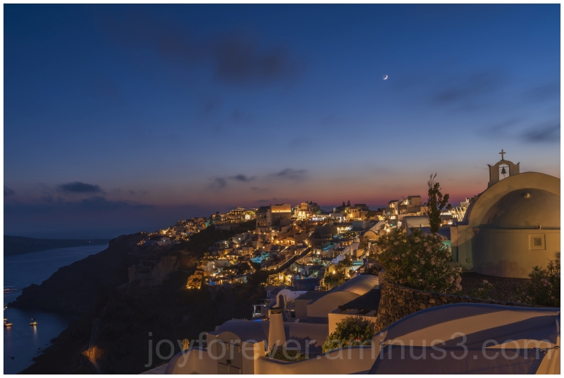Greece Santorini Oia Moon night island crescent