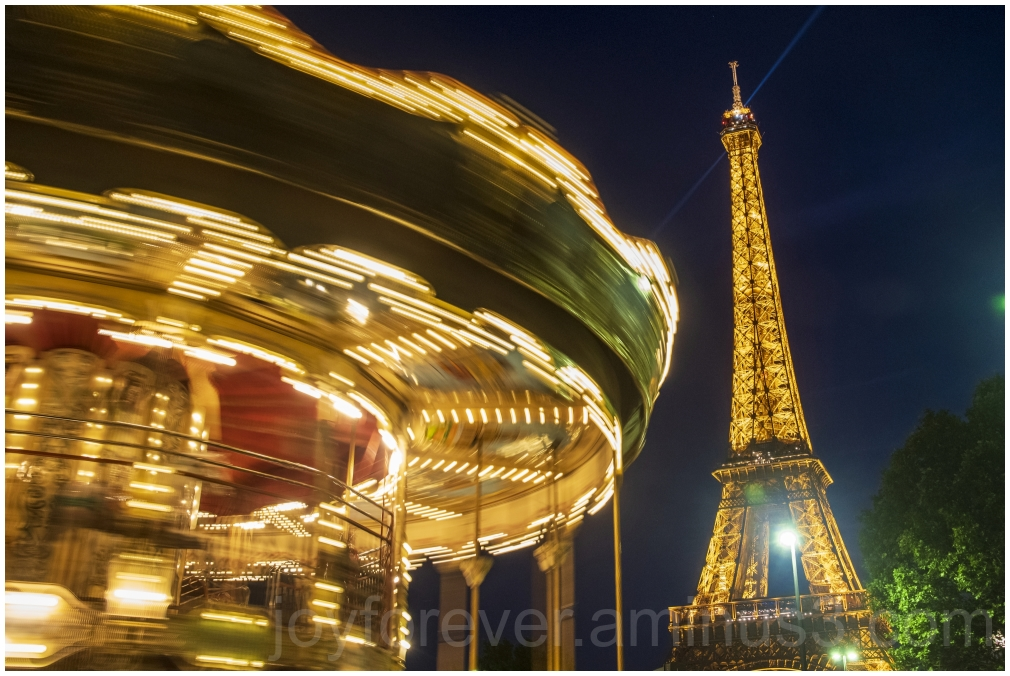 EiffelTower carousel Trocadero Paris night France