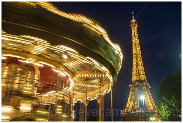 EiffelTower carousel Trocadero Paris night France