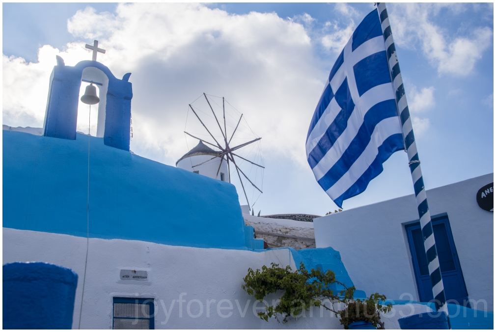 Greece Santorini Oia flag island blue white mill