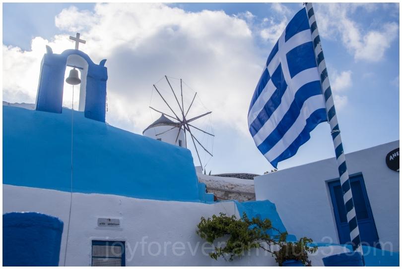 Greece Santorini Oia flag island blue white mill