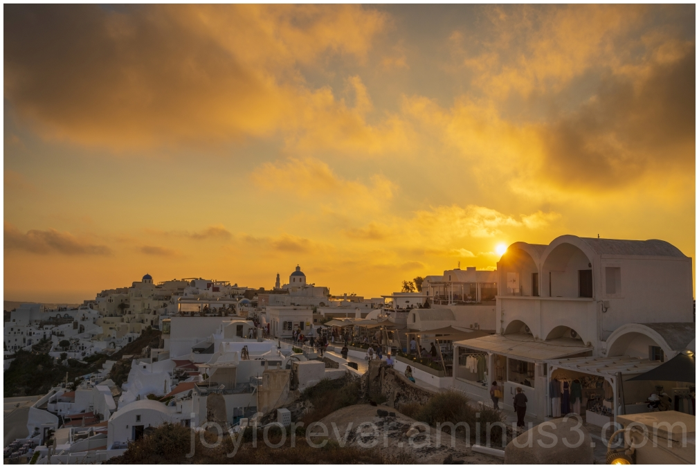 Greece Santorini Oia sunset island buildings sea