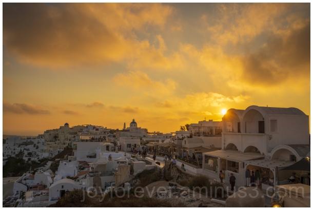 Greece Santorini Oia sunset island buildings sea