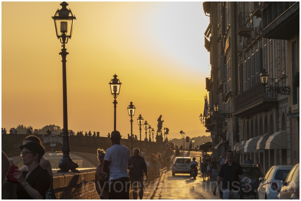 florence Italy sunset lampposts river road Street