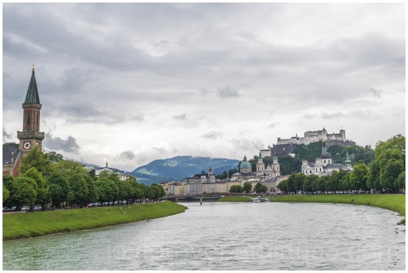 Salzburg Austria river bridge castle clouds Europe