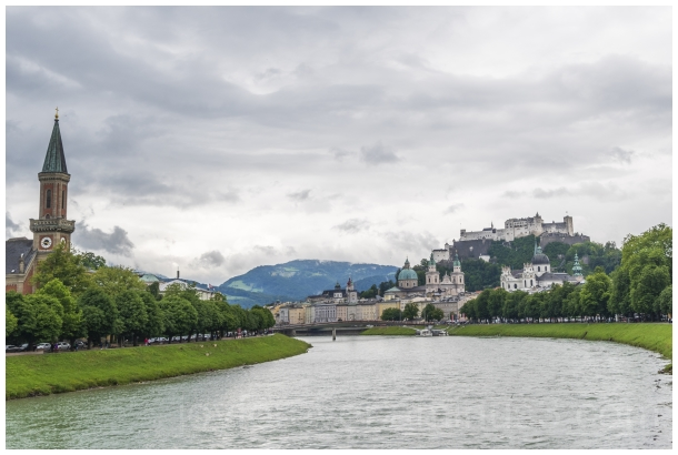 Salzburg Austria river bridge castle clouds Europe