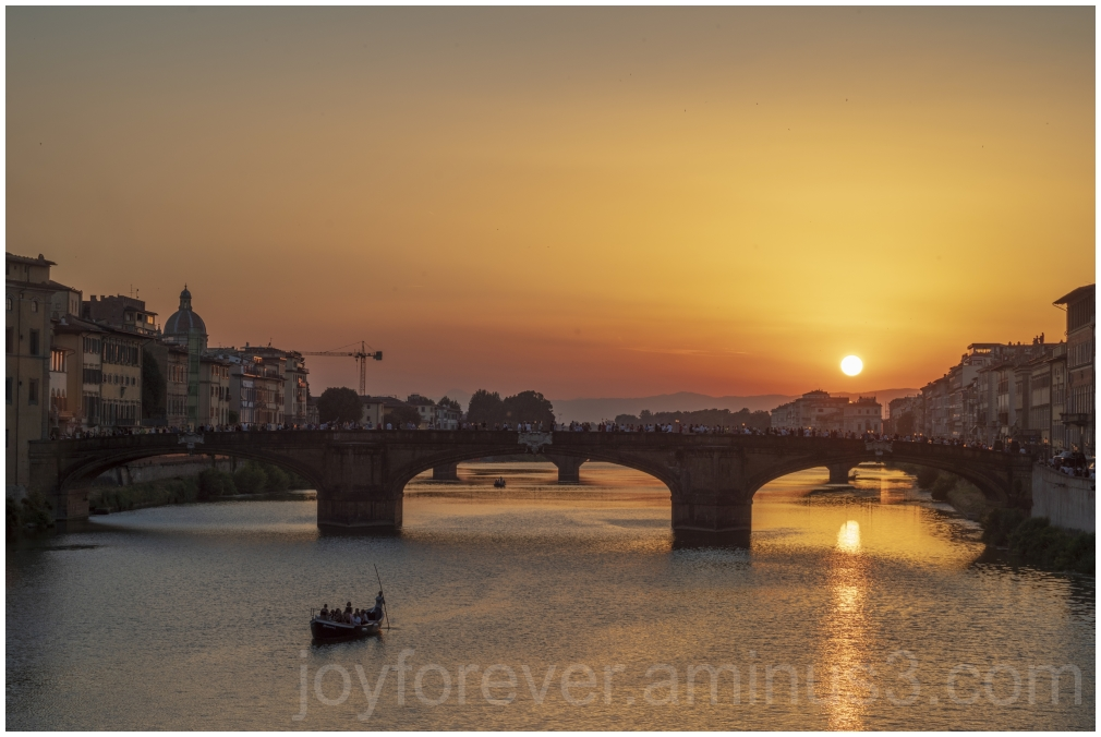 florence Italy sunset bridge river