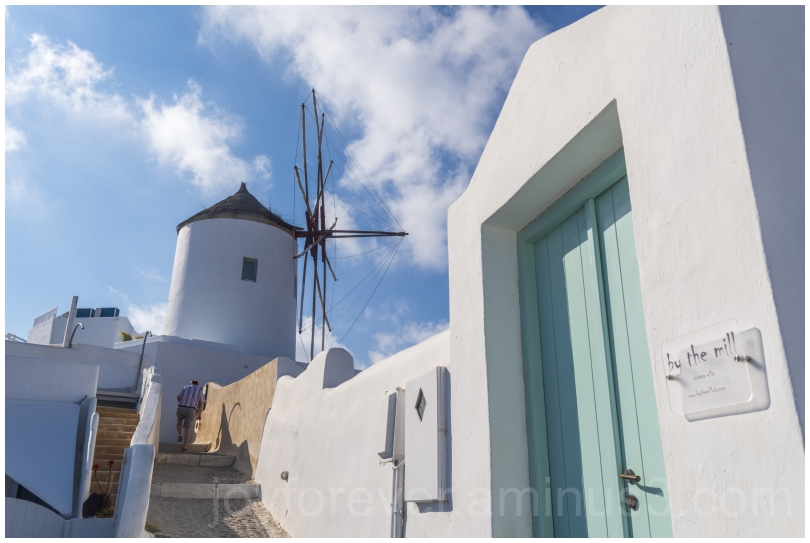 Greece Santorini Oia island blue white windmill