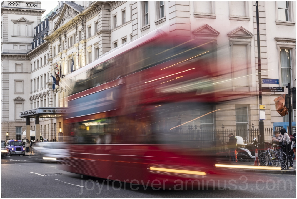 London UK red bus motionblur street doubledecker
