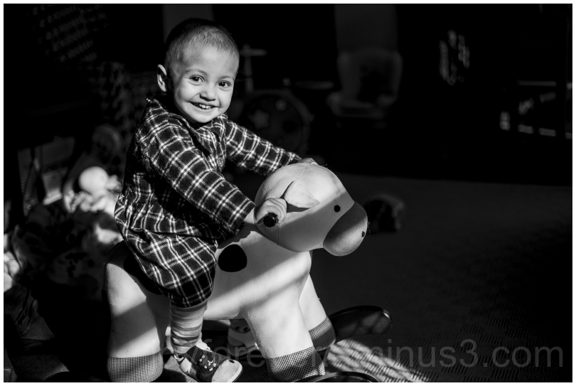 child toddler rocking cow riding blackandwhite B&W