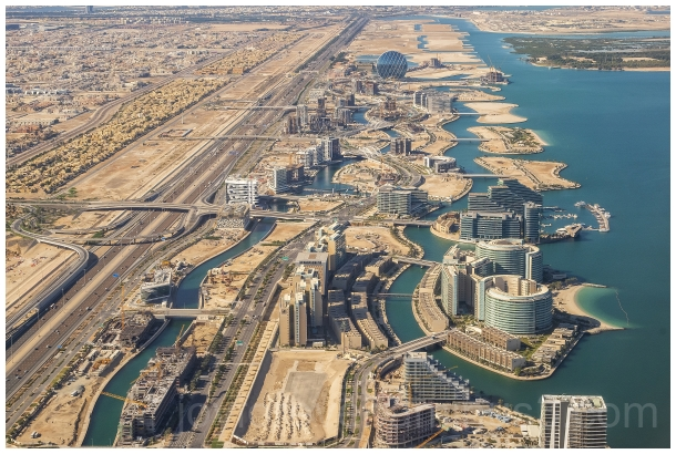 AbuDhabi UAE aerial airplane cityscape fromtheair