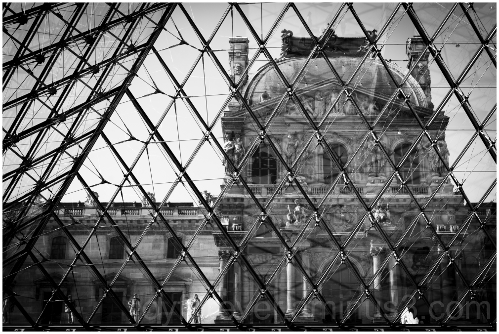 Louvre museum Paris France B&W Black&White pyramid