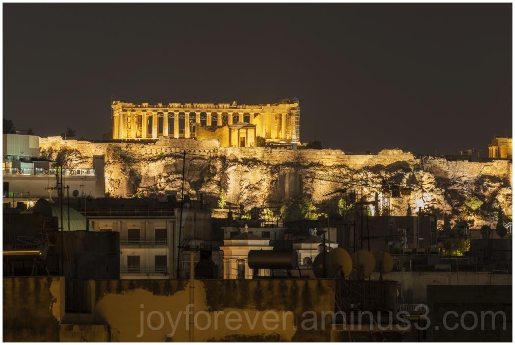 Parthenon Acropolis Athens night Greece ruins