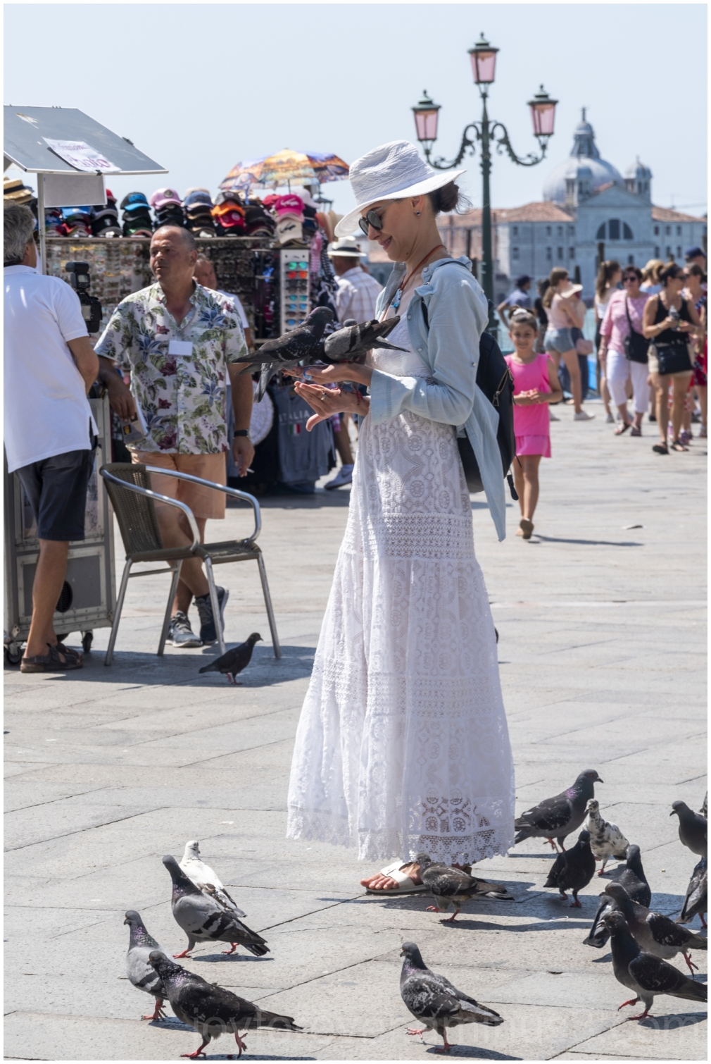 woman lady Venice Italy Europe pigeons SanMarco