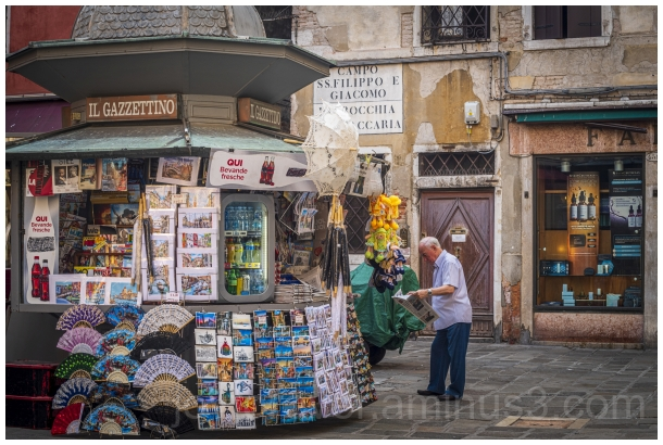 Venice Italy Europe lane morning shop newsstand