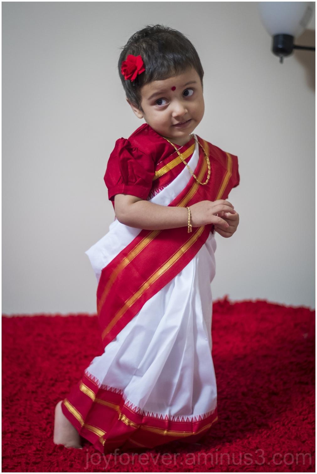 Bengali girl toddler sari Indian Hindu NewYear