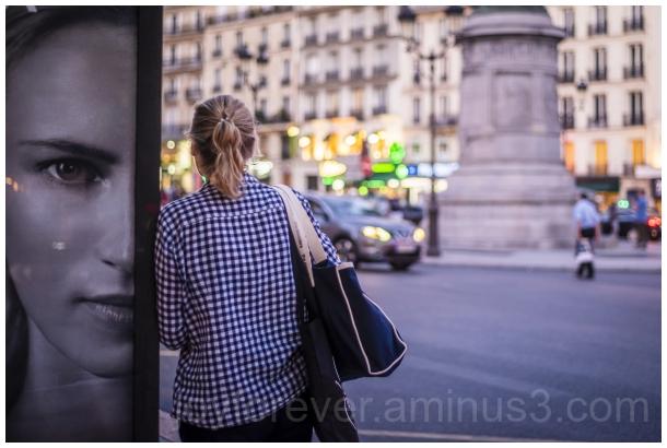 woman Paris france metro evening poster busstop