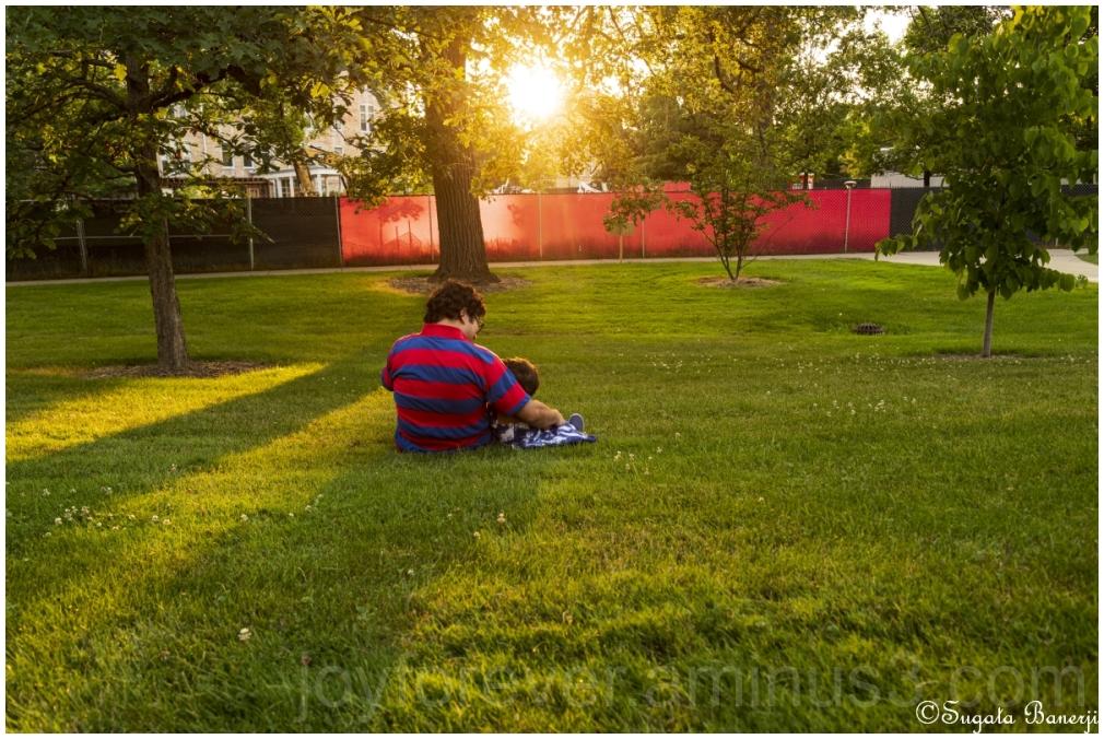 father daughter selfportrait evening sunlight