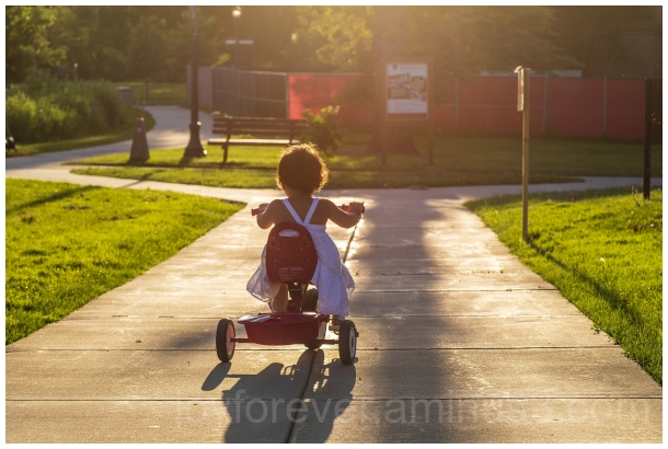 tricycle toddler girl baby child ride sunlight