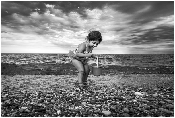 beach toddler girl lake black&white clouds water