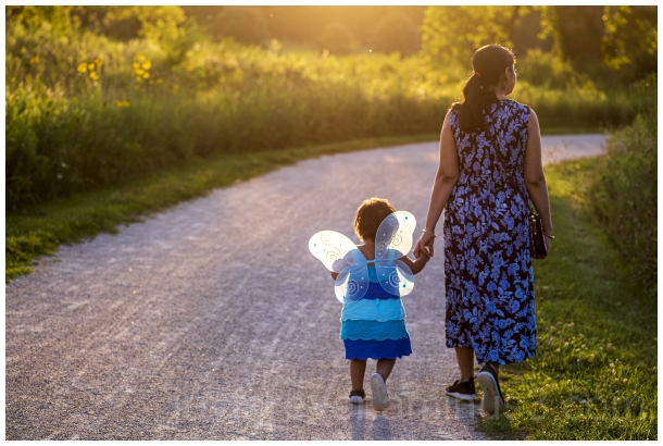 Mother child toddler fairy wings butterfly prairie