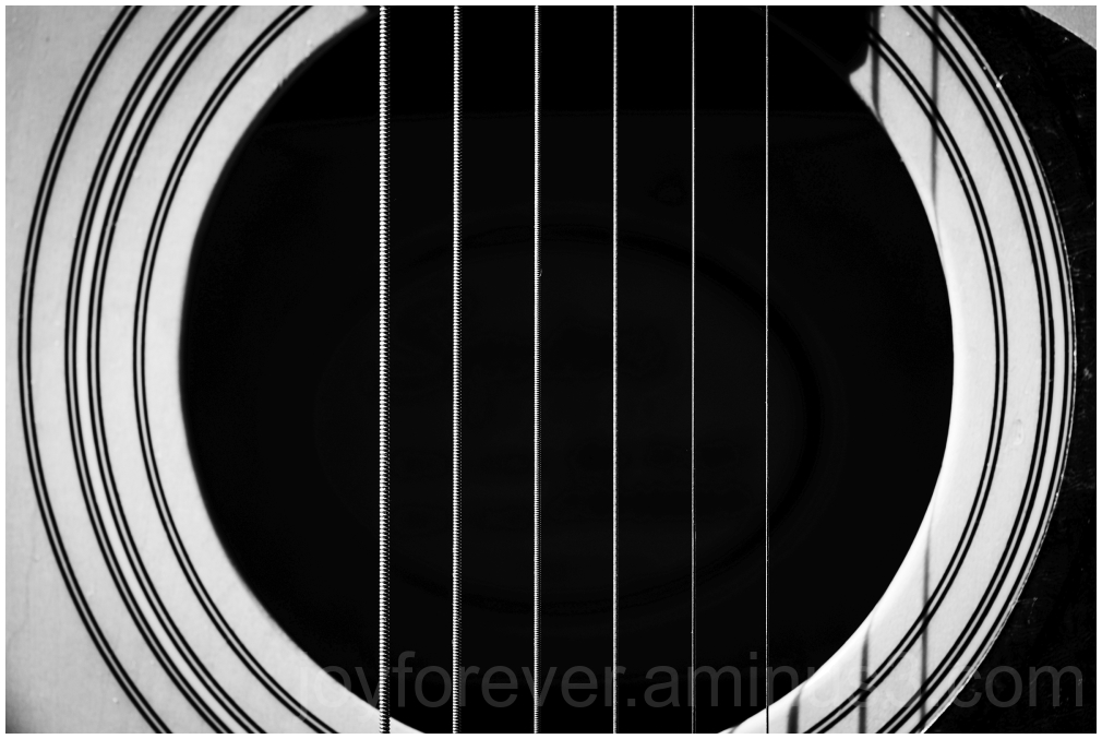 acoustic guitar musical instrument macro B&W hole