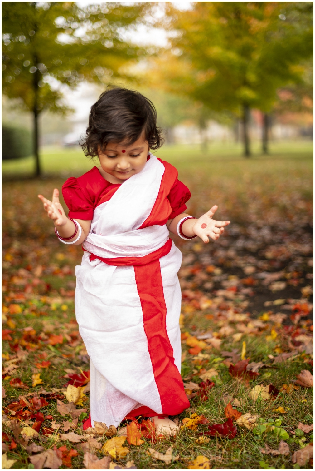 Fall autumn durgapuja saree toddler Hindu Indian
