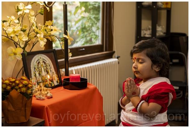 Fall autumn durgapuja saree toddler Hindu Indian