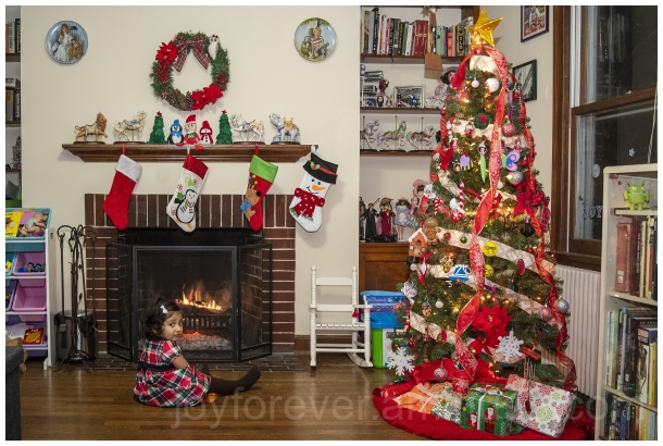 child girl Christmas fireplace christmastree