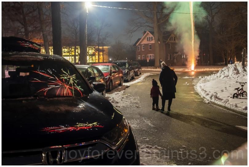 fireworks reflection car night newyear celebration