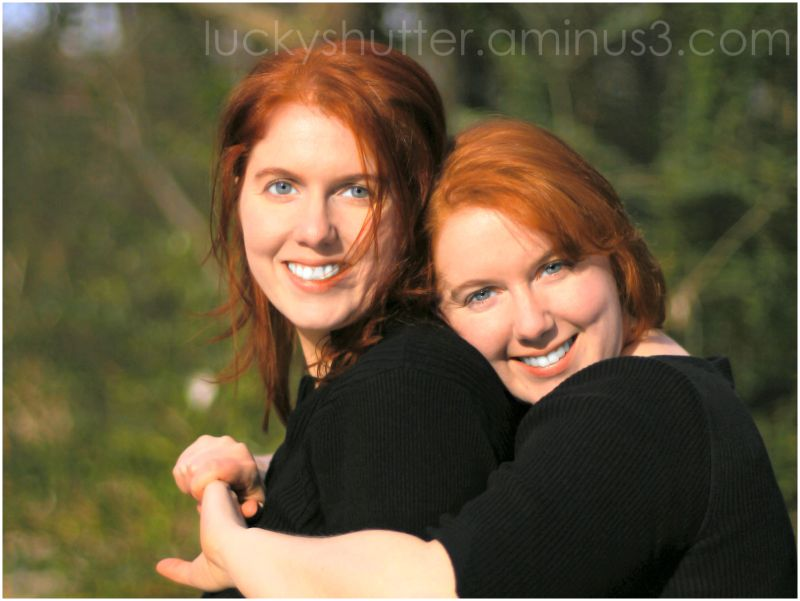 Red hair twins outdoor portrait