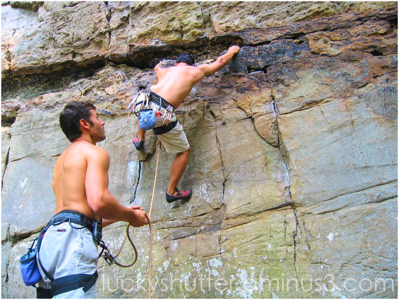 Lead climber and belay