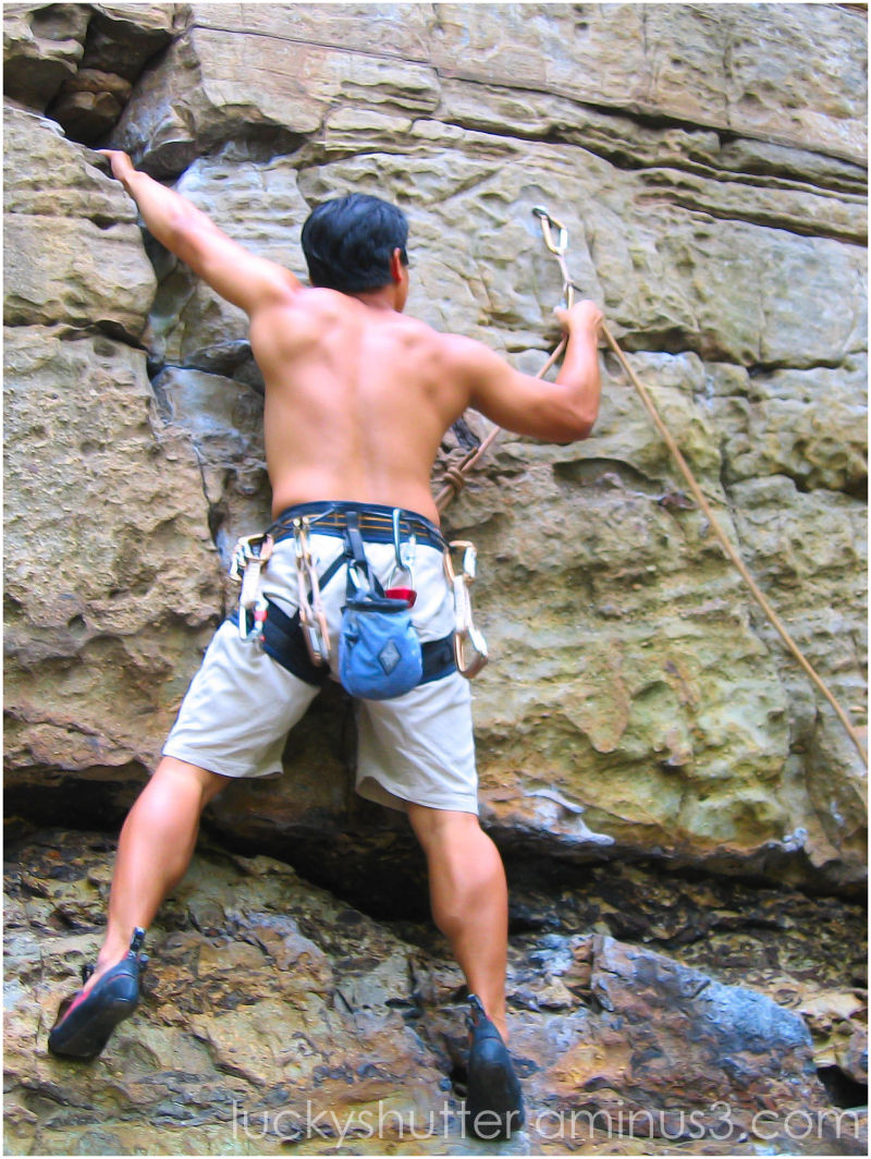 The first clip on a lead climbing route
