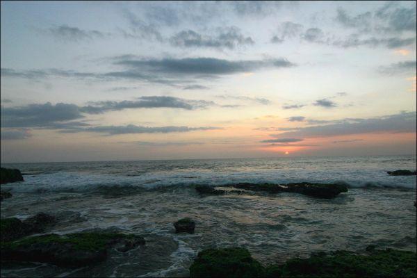 sunset on bali beach